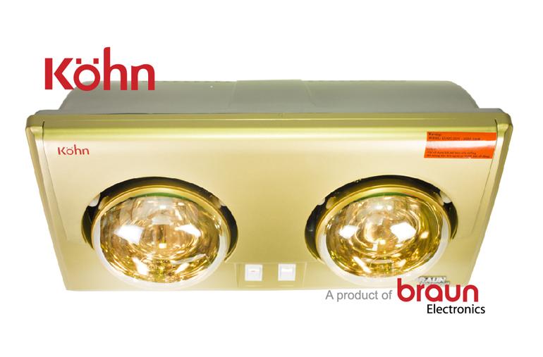 Đèn sưởi nhà tắm Kohn 2 bóng tốt nhất với bóng mạ vàng