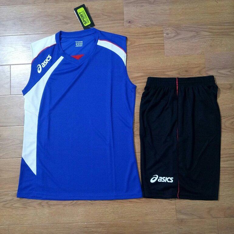 Quần áo bóng chuyền nam sát nách Asics màu xanh