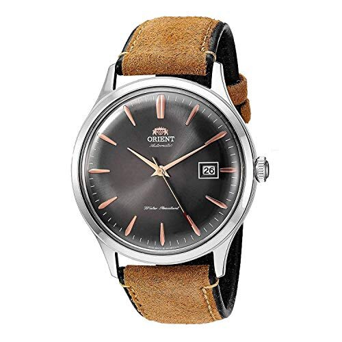 Orient Men's Bambino Version 4 Stainless Steel Japanese-Automatic Watch with Leather Calfskin Strap, Brown, 22 (Model: FAC08003A0)