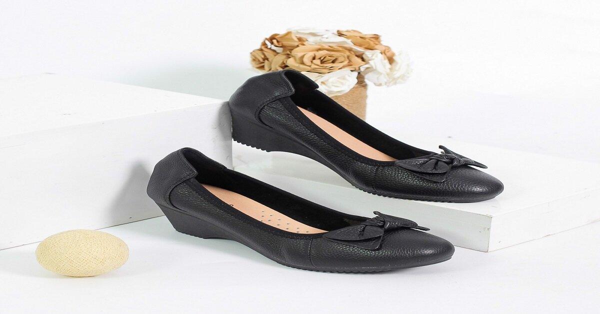 giày búp bê đế xuồng đen có nơ