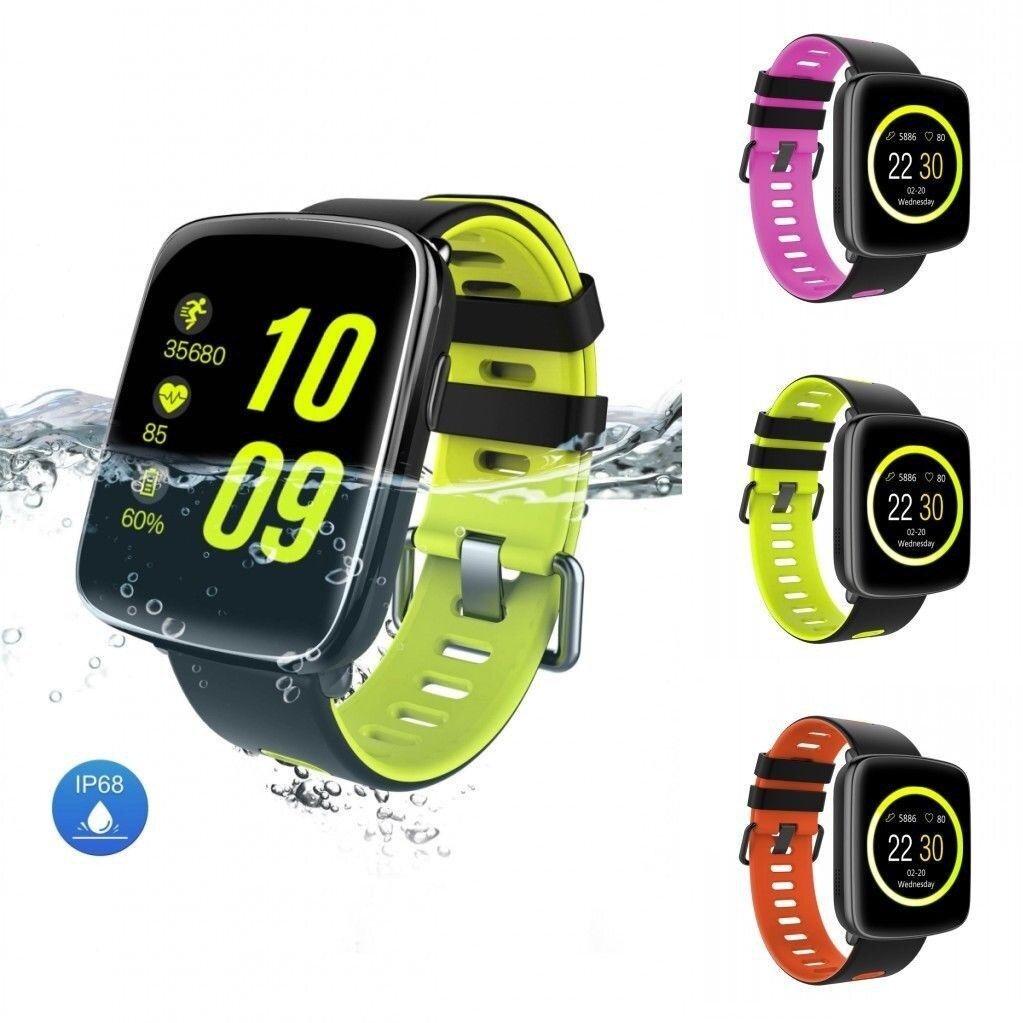 Smartwatch Kingwear dây đen vàng