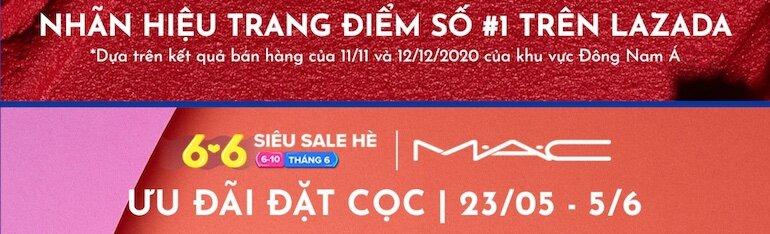 deal mỹ phẩm MAC sale lớn trong siêu sale hè Lazada 06/06
