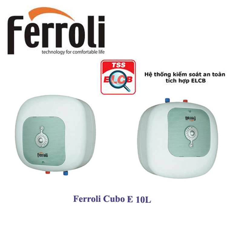 Bình nóng lạnh mini Ferroli 10 lít cho phòng tắm diện tích nhỏ