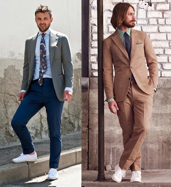 Giầy sneaker trắng và áo vest