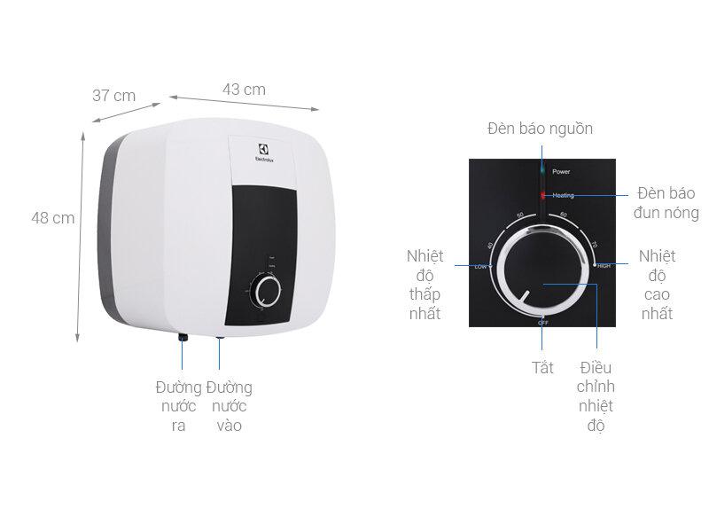 Chi tiết thông số kỹ thuật, nút điều khiển máy nước nóng nhãn hiệu Electrolux số hiệu EWS302DX-DWM