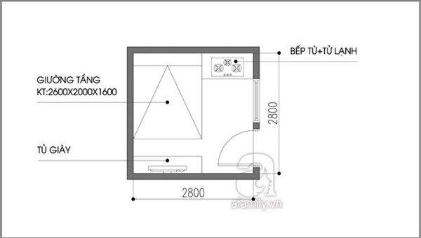 Tư vấn bố trí nội thất cho căn phòng 7,8m² có cả giường và bếp 1