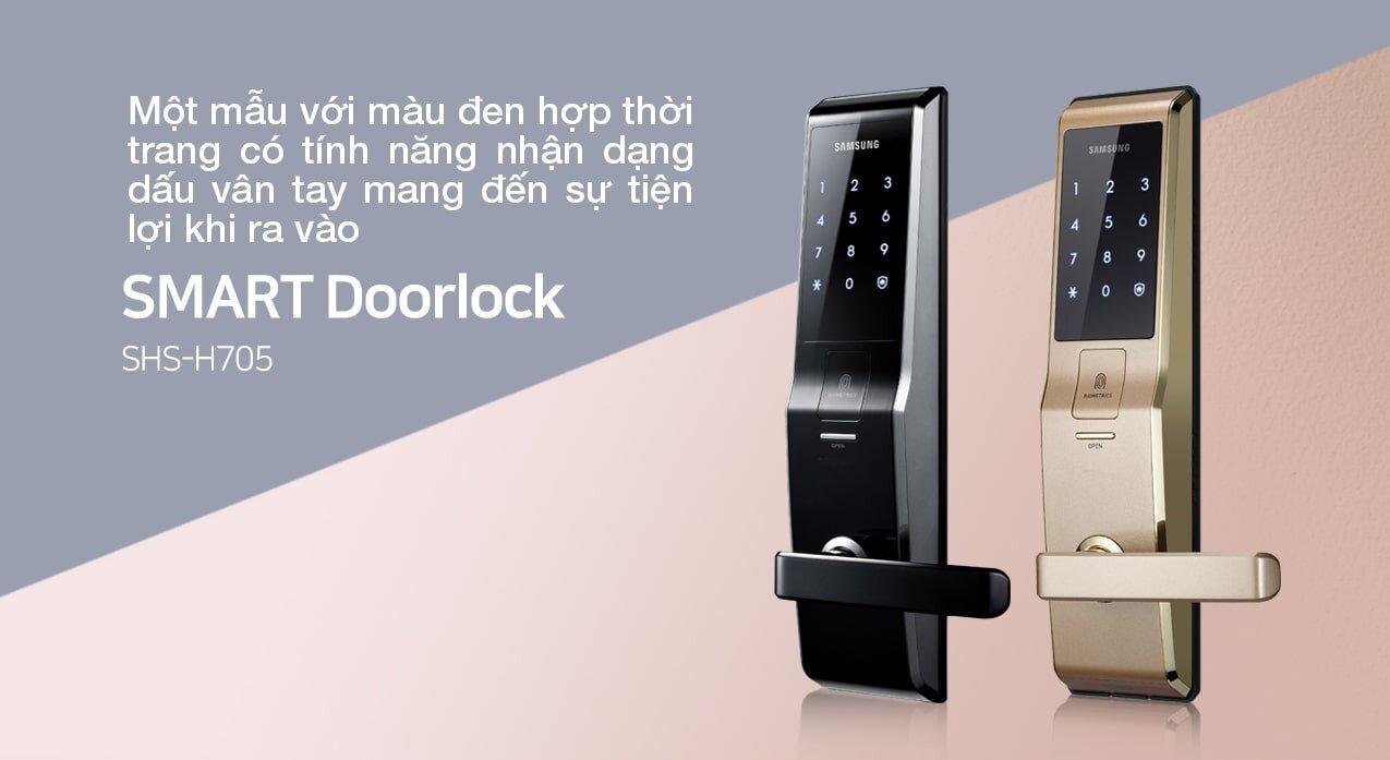 Khóa cửa vân tay Samsung SHS H705 có thiết kế sang trọng