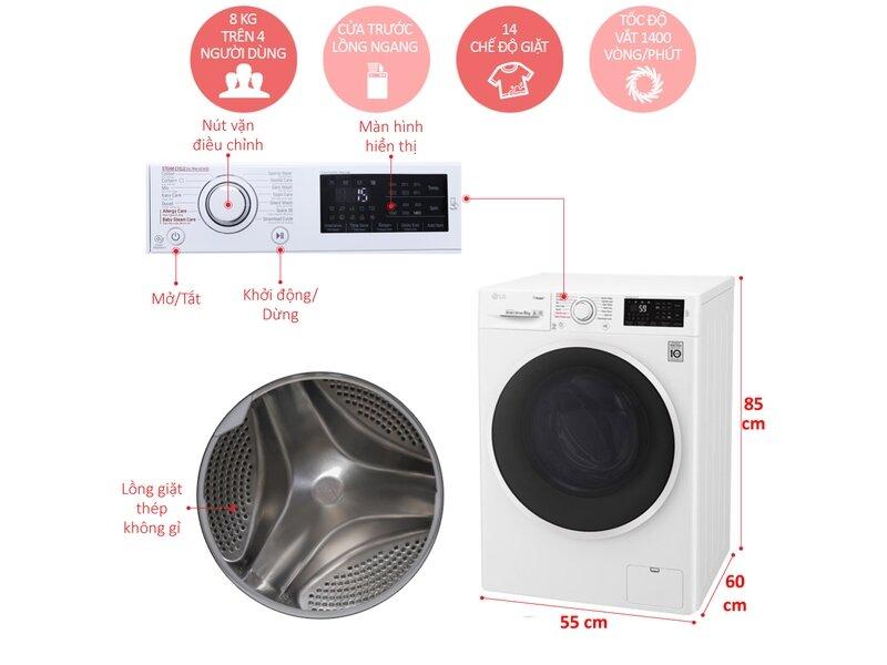 Máy giặt LG FC1408S4W2 tốc độ quay nhanh, nhiều tính năng