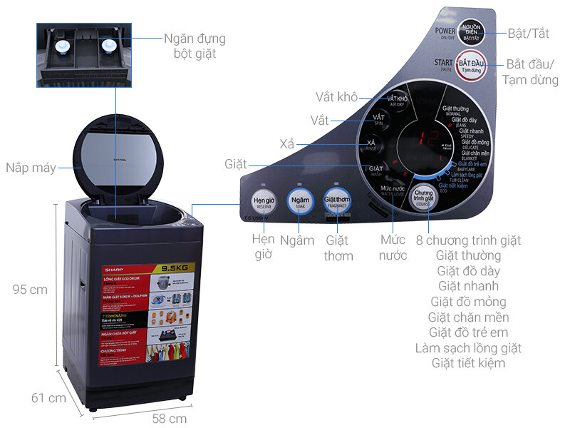 Máy giặt lồng đứng Sharp ES-U95HV-S với thiết kế hiện đại nổi bật