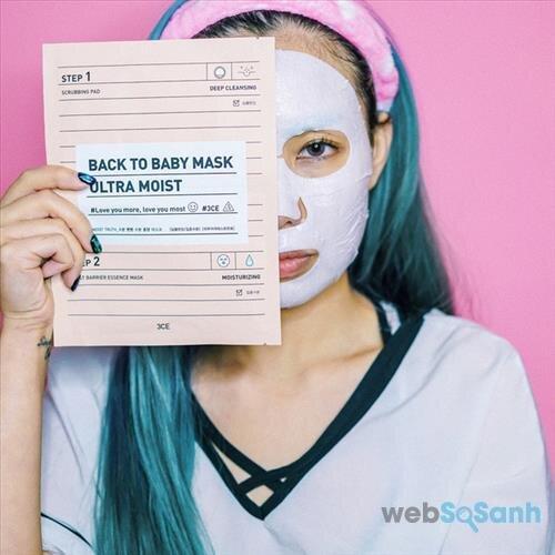 Mặt nạ 3CE Back To Baby Face: Ultra Moist tẩy da chết vật lý và dưỡng ẩm cho da
