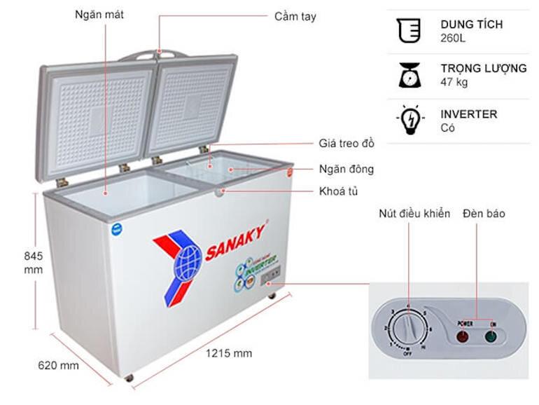 Tủ đông 2 ngăn Sanaky VH-3699W3