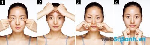Động tác 3: Dùng hai ngón trỏ massage phần bọng mắt dưới. Đặt phần ngón tay áp vào trán, hai ngón trỏ đặt hai bên mũi và dưới cằm, rồi xoay tròn với lực ấn ngón tay vừa phải.