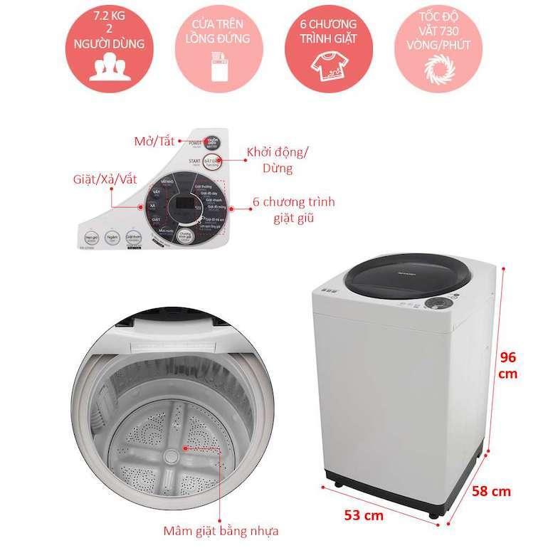 Máy Giặt Cửa Trên Sharp ES-U82GV-G 8.2Kg