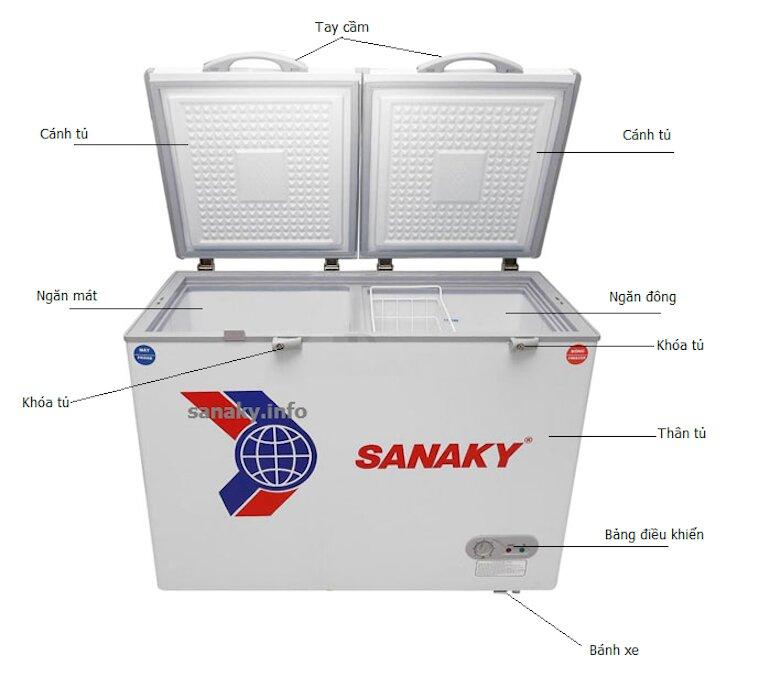 Tủ đông Sanaky 1 ngăn đông 1 ngăn mát VH 225W2