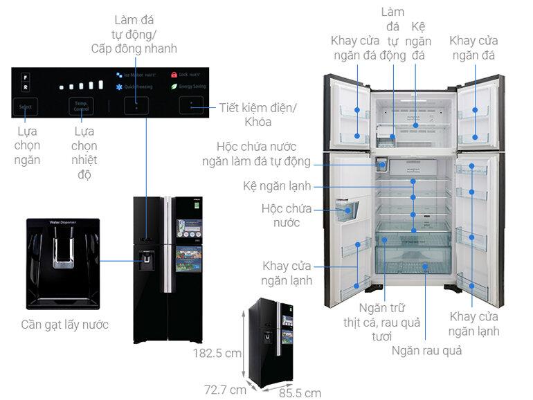 Tủ lạnh Hitachi 4 cánh với dung tích 540 lít