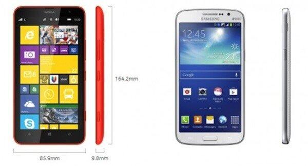 Lumia 1320 lớn hơn Grand 2