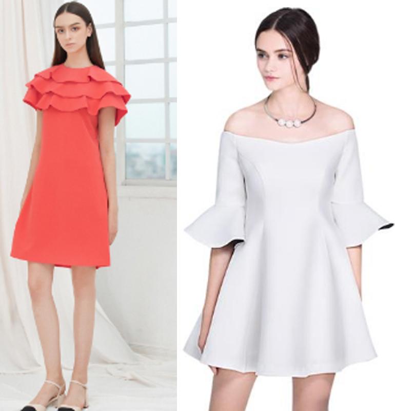 Váy liền thiết kế xếp bèo/trễ vai hay thêm các chi tiết điệu đà