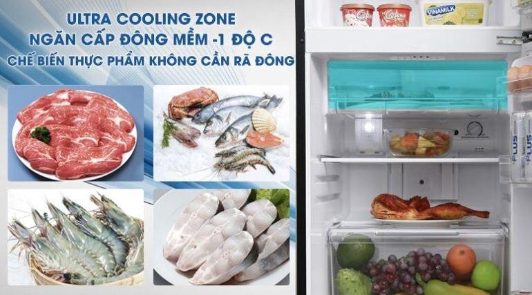 ngăn cấp đông mềm Ultra Cooling Zone giúptạo lớp băng mỏng -1℃ giúp giữ nguyên dưỡng chất & hương vị, thực phẩm có thể chế biến ngay không cần rã đông, ngăn có nắp đậy không lẫn mùi