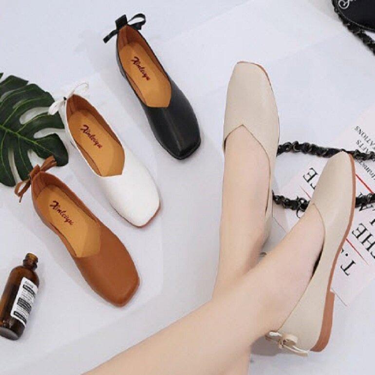giày búp bê nữ mũi vuông cổ điển