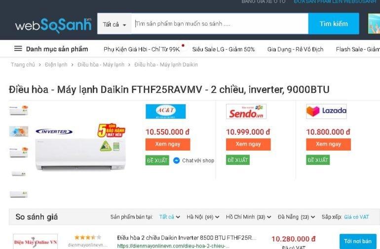 Điều hòa - Máy lạnh 2 chiều Daikin Inverter 1.0 HP FTHF25RAVMV - Giá tham khảo: 10.280.000 vnđ