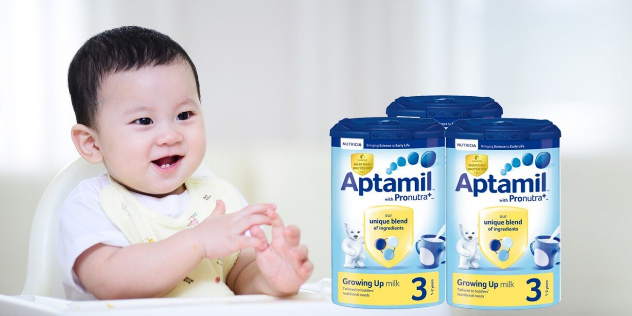Sữa Aptamil chứa đầy đủ thành phần dinh dưỡng hỗ trợ bé tăng cân và phát triển chiều cao