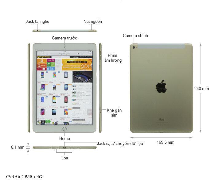 """Tổng quan """"ngoại hình"""" iPad air 2"""