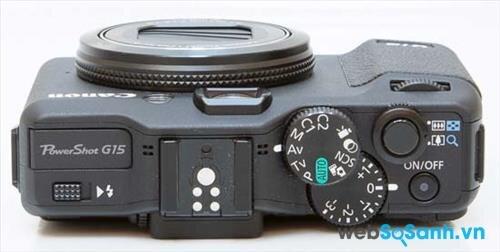 máy ảnh compact Canon PowerShot G15 được bố trí các nút chụp hình và điều chỉnh chế độ rất hợp lý