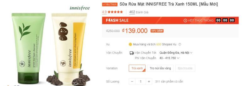 Sữa Rửa Mặt INNISFREE Trà Xanh 150ML - Sale 44% giá chỉ còn 139k