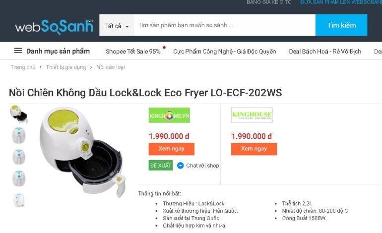 Nồi chiên không dầu Lock&Lock Eco Fryer LO-ECF-202WS