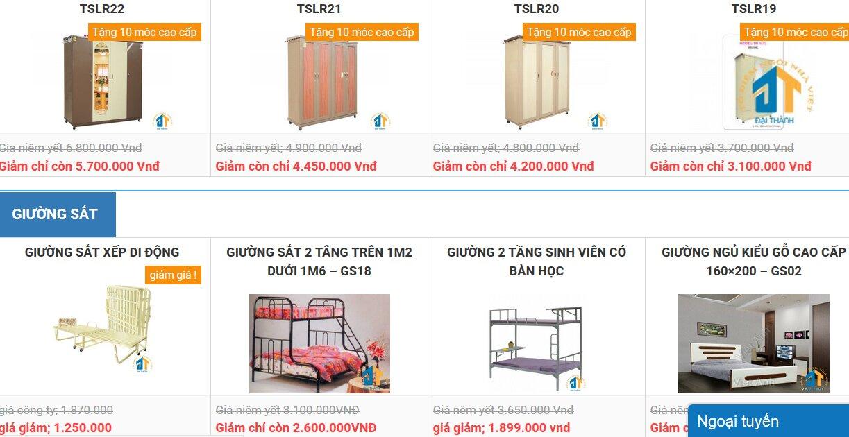 tủ sắt, giường sắt nội thất đại thành