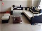 Sofa Da sóng ngang màu đen Hiện đại GHS-808