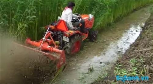 Máy cày Kubota làm việc trên đồng nước