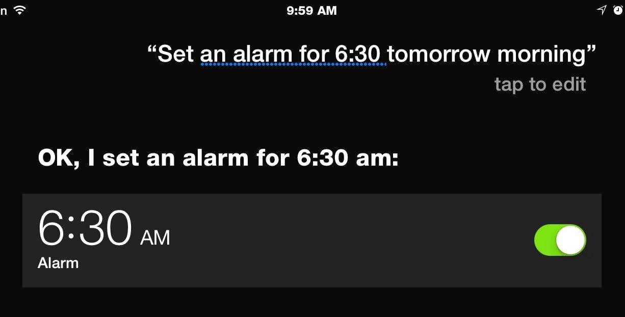 Siri giúp đặt báo thức một cách rất nhanh