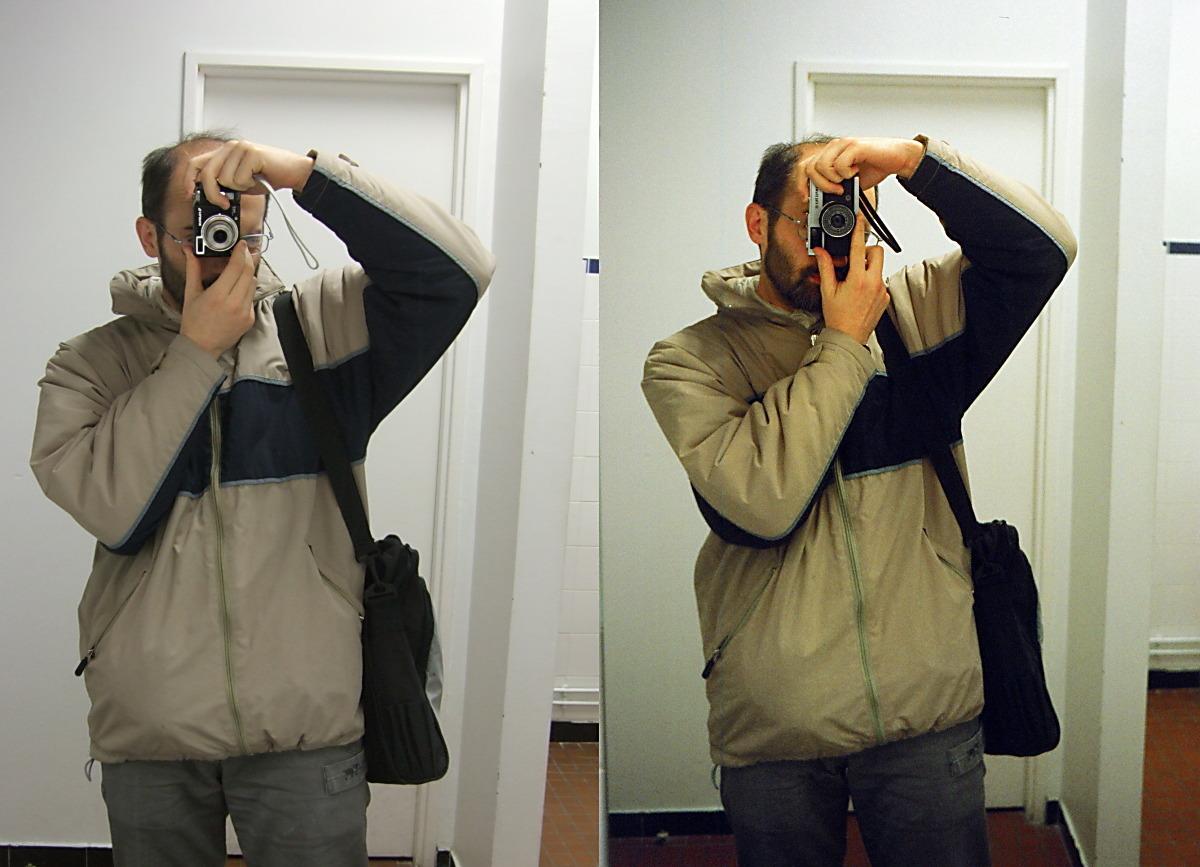 So sánh máy ảnh digital (phải) và máy ảnh compact (trái)