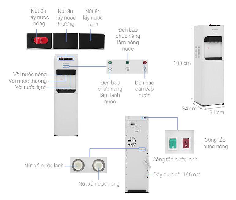 Cây nước nóng lạnh bình đặt dưới Kangaroo KG50A3
