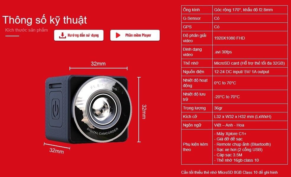 Thông số kỹ thuật camera xPlore C1