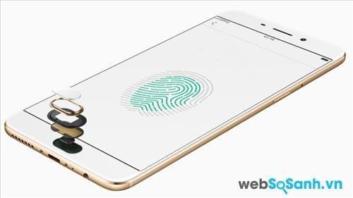 Smartphone OPPO F1 Plus được trang bị bảo mật vân tay
