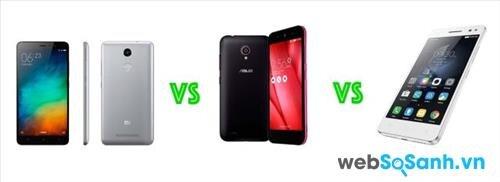 So sánh điện thoại Redmi Note 3, điện thoại Asus Live và điện thoại Lenovo Vibe
