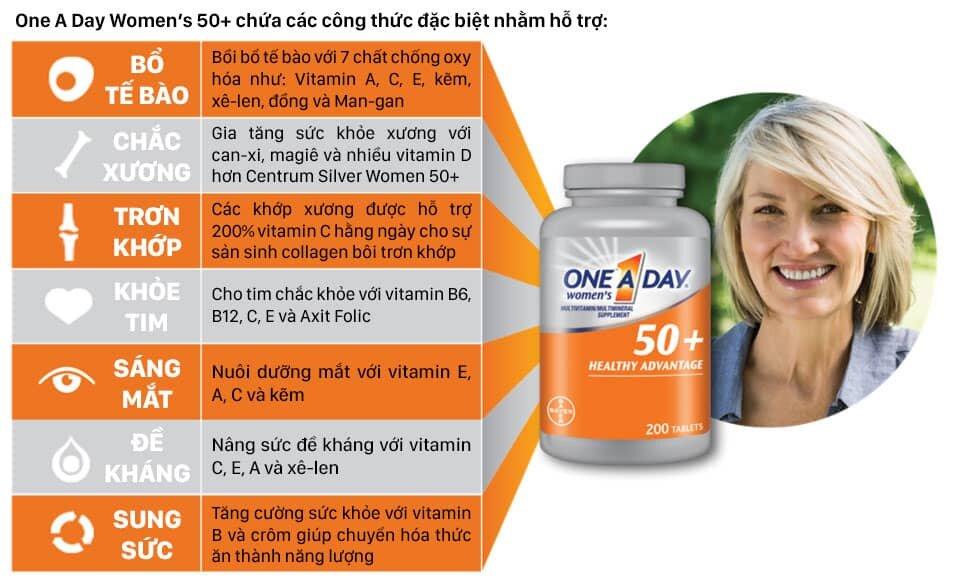 One a day women's 50+ giúp bổ sung chất dinh dưỡng cho phụ nữ trên tuổi 50