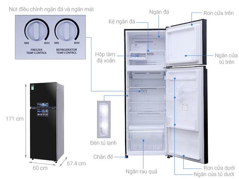 Tủ lạnh Toshiba GR-AG39VUBZ(XK), Inverter, 330L tiết kiệm điện