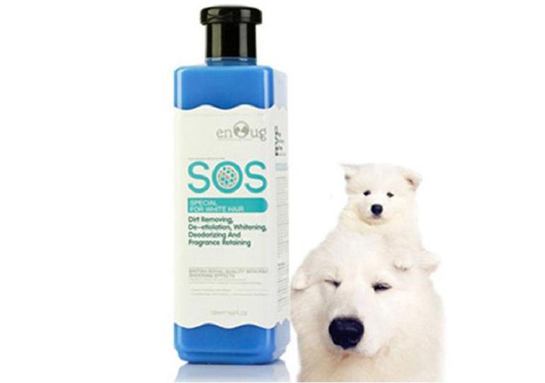 Sữa tắm cho chó lông trắng SOS màu xanh dương