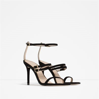 Image 2 of LEATHER STRAPPY SANDALS from Zara