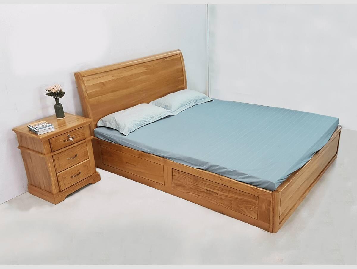 Sản phẩm có vân gỗ đẹp, khá đồng màu tạo nên bề mặt giường hoàn thiện và ấn tượng (Nguồn: phucan.com)