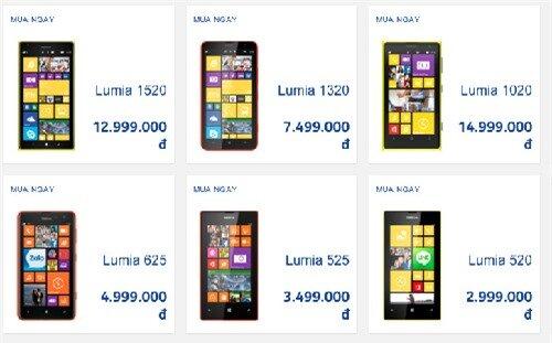 Nhiều cửa hàng đang bán Lumia 1020 với giá thấp hơn tới vài triệu đồng so với giá Nokia công bố trên website.