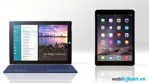 Surface 3 và iPad Air 2.