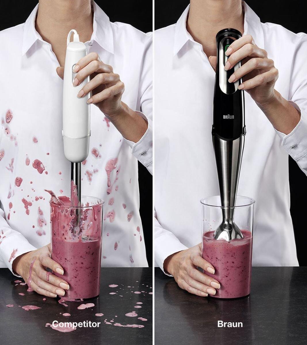 Braun sử dụng công nghệ Splash Control giúp thực phẩm không bị văng ra ngoài khi sử dụng