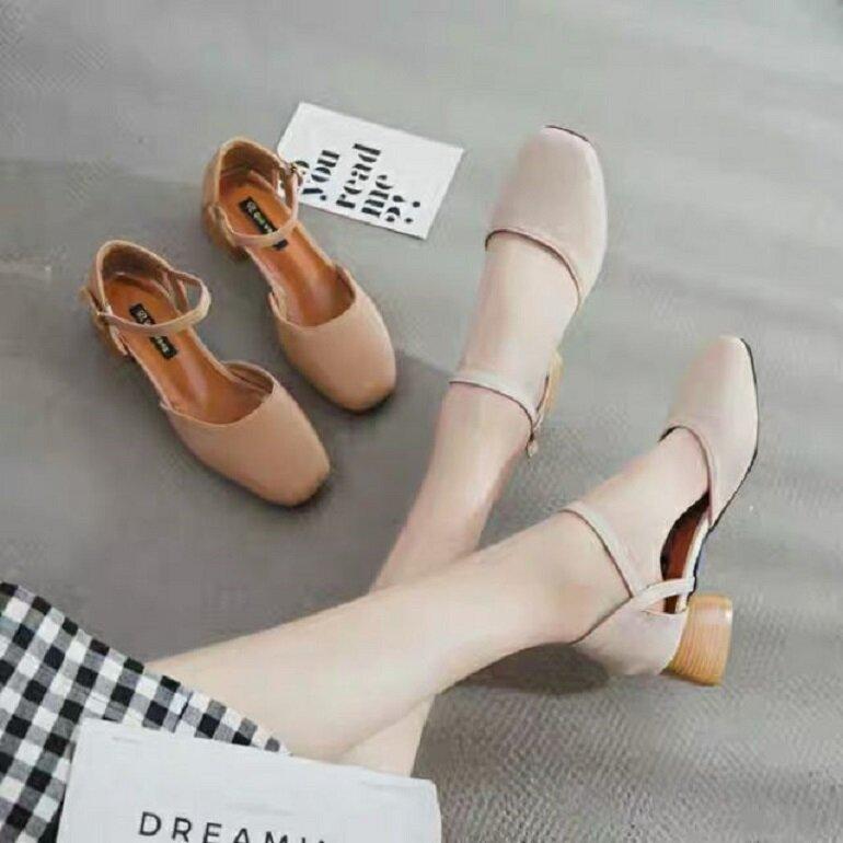 giày búp bê cao gót cổ điển
