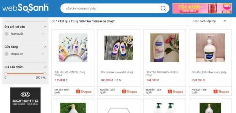 Giá sữa tắm Monsavon nội địa Pháp các loại bao nhiêu tiền?