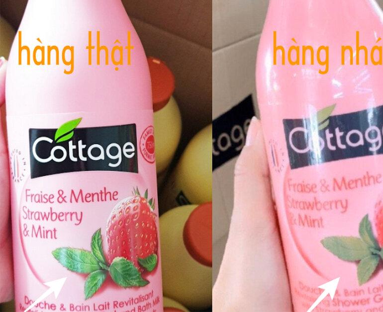 Phân biệt sữa tắm Cottage giả và thật qua bao bì, tem mác