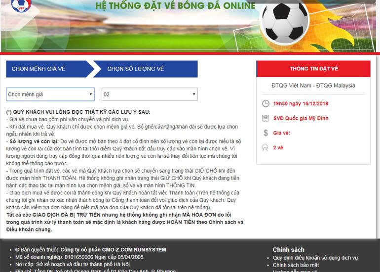 Mua vé bóng đá online AFF 2018